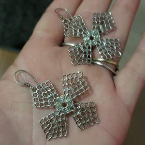 Sterling cross earrings